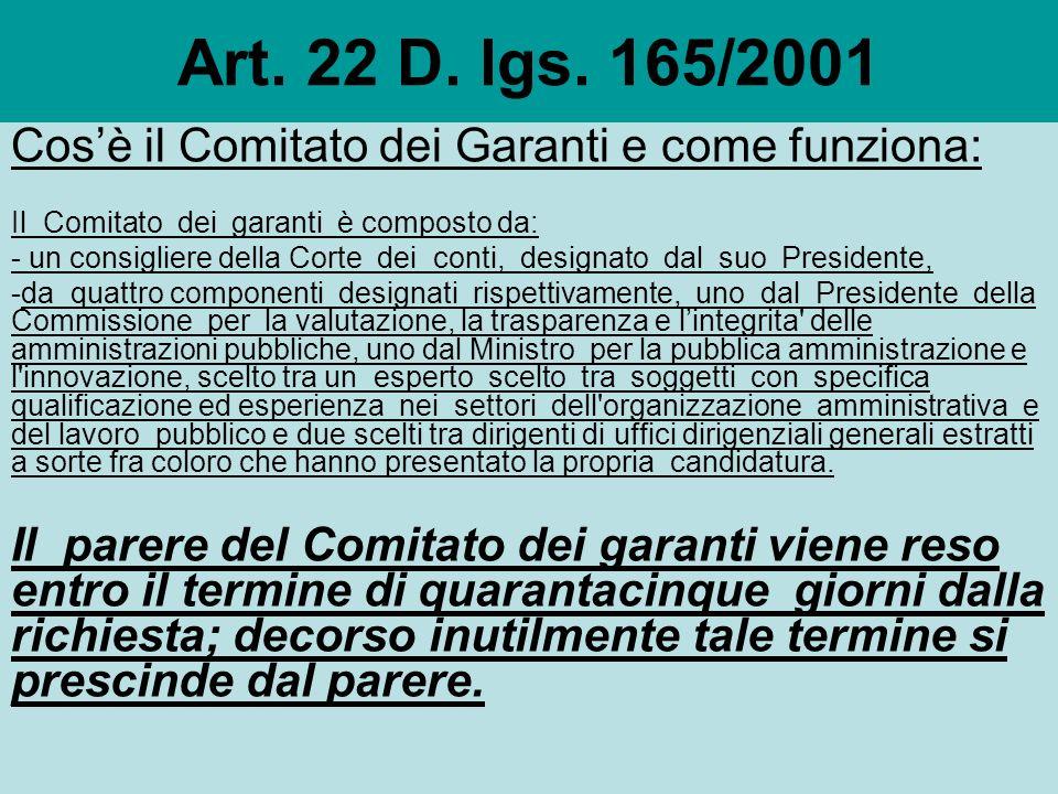 Art. 22 D. lgs. 165/2001 I provvedimenti di cui allart.