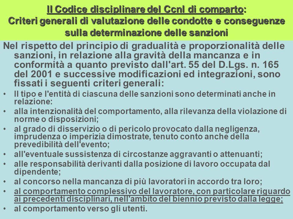 lI Codice disciplinare del Ccnl di comparto: Criteri generali di valutazione delle condotte e conseguenze sulla determinazione delle sanzioni Nel risp