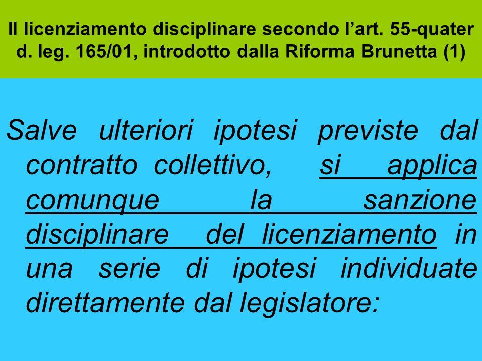 Il licenziamento disciplinare secondo lart. 55-quater d. leg. 165/01, introdotto dalla Riforma Brunetta (1) Salve ulteriori ipotesi previste dal contr