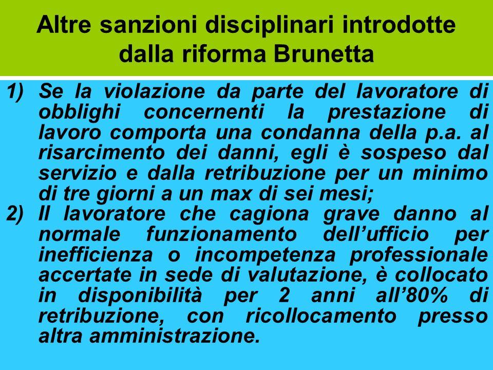 Altre sanzioni disciplinari introdotte dalla riforma Brunetta 1)Se la violazione da parte del lavoratore di obblighi concernenti la prestazione di lav