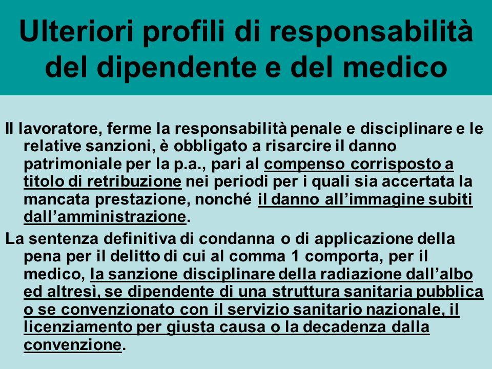 Ulteriori profili di responsabilità del dipendente e del medico Il lavoratore, ferme la responsabilità penale e disciplinare e le relative sanzioni, è