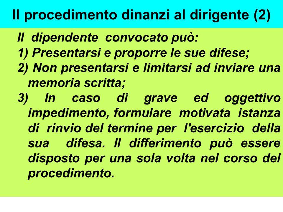 Il procedimento dinanzi al dirigente (2) Il dipendente convocato può: 1) Presentarsi e proporre le sue difese; 2) Non presentarsi e limitarsi ad invia
