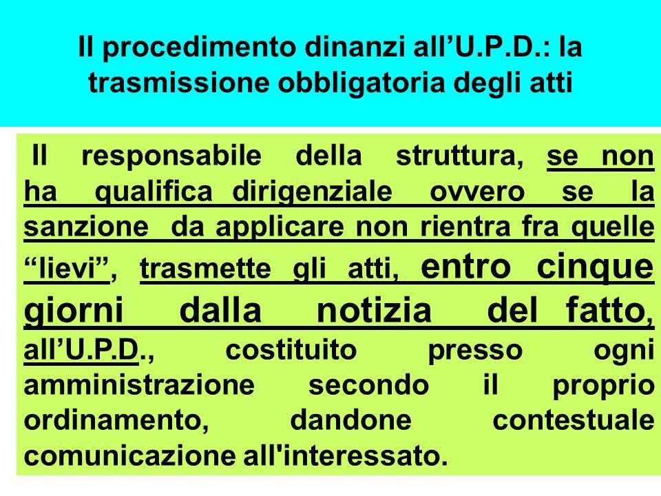 Il procedimento dinanzi allU.P.D.: la trasmissione obbligatoria degli atti Il responsabile della struttura, se non ha qualifica dirigenziale ovvero se