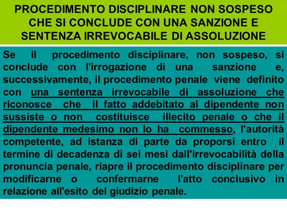 PROCEDIMENTO DISCIPLINARE NON SOSPESO CHE SI CONCLUDE CON UNA SANZIONE E SENTENZA IRREVOCABILE DI ASSOLUZIONE Se il procedimento disciplinare, non sos