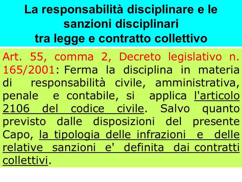 La responsabilità disciplinare e le sanzioni disciplinari tra legge e contratto collettivo Art. 55, comma 2, Decreto legislativo n. 165/2001: Ferma la