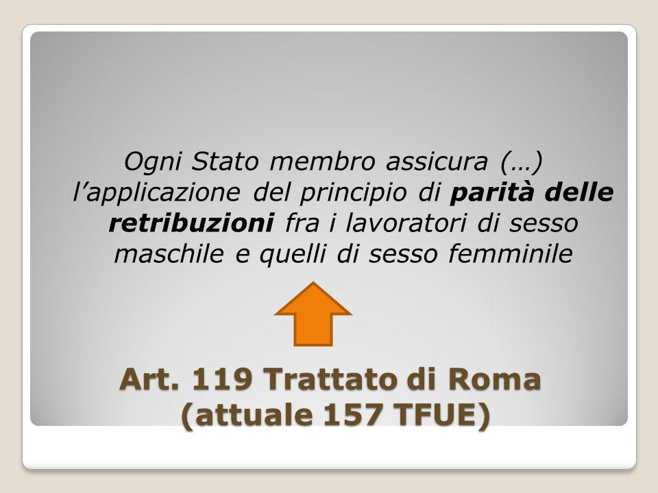 Art. 119 Trattato di Roma (attuale 157 TFUE) Ogni Stato membro assicura (…) lapplicazione del principio di parità delle retribuzioni fra i lavoratori