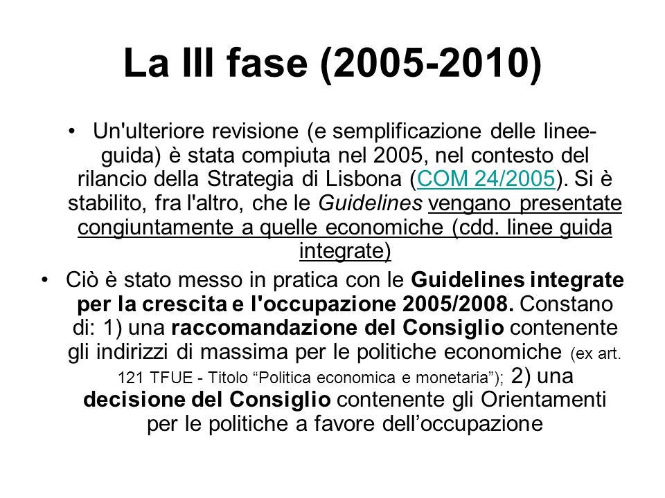 La III fase (2005-2010) Un ulteriore revisione (e semplificazione delle linee- guida) è stata compiuta nel 2005, nel contesto del rilancio della Strategia di Lisbona (COM 24/2005).
