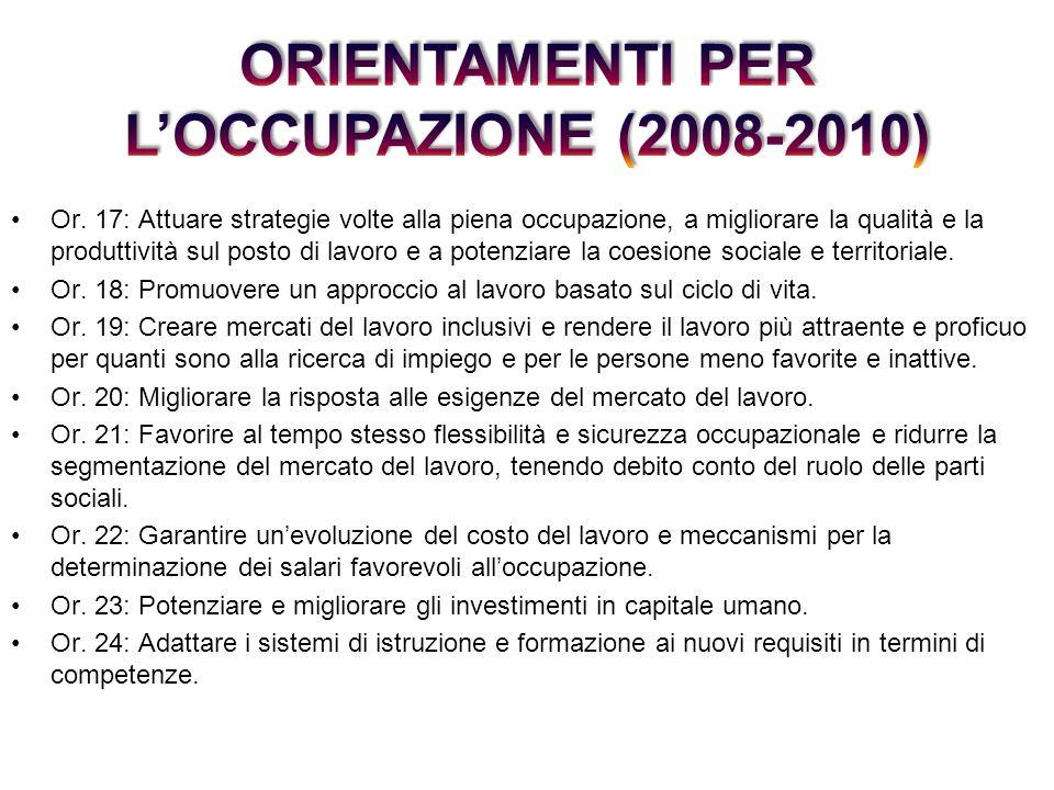 Or. 17: Attuare strategie volte alla piena occupazione, a migliorare la qualità e la produttività sul posto di lavoro e a potenziare la coesione socia