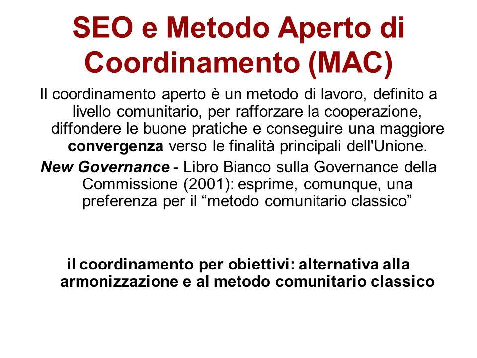 SEO e Metodo Aperto di Coordinamento (MAC) Il coordinamento aperto è un metodo di lavoro, definito a livello comunitario, per rafforzare la cooperazione, diffondere le buone pratiche e conseguire una maggiore convergenza verso le finalità principali dell Unione.