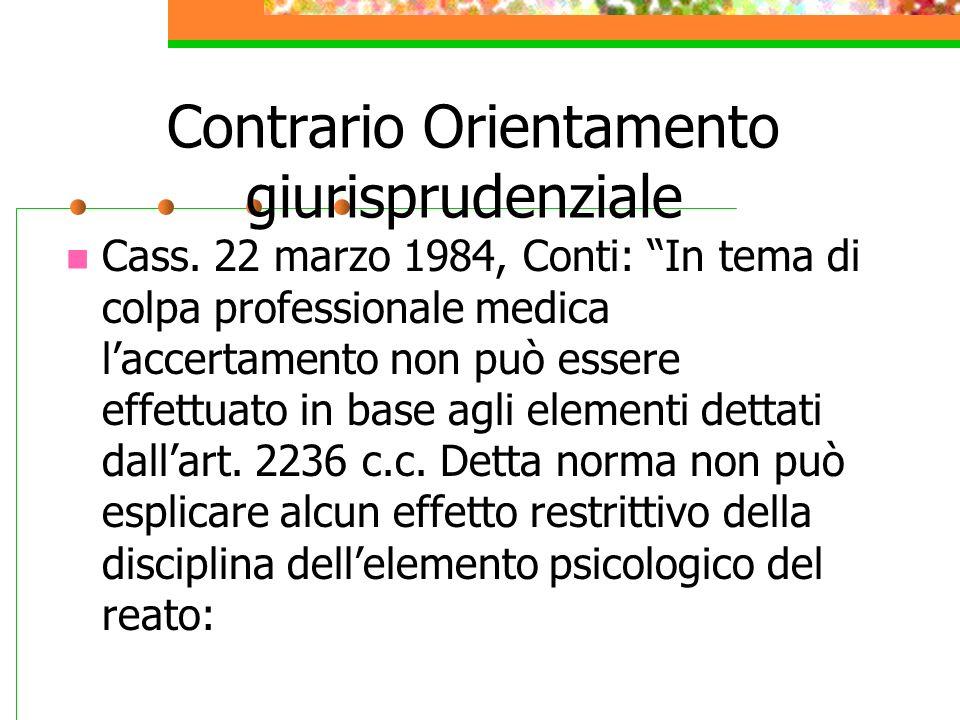 Contrario Orientamento giurisprudenziale Cass. 22 marzo 1984, Conti: In tema di colpa professionale medica laccertamento non può essere effettuato in