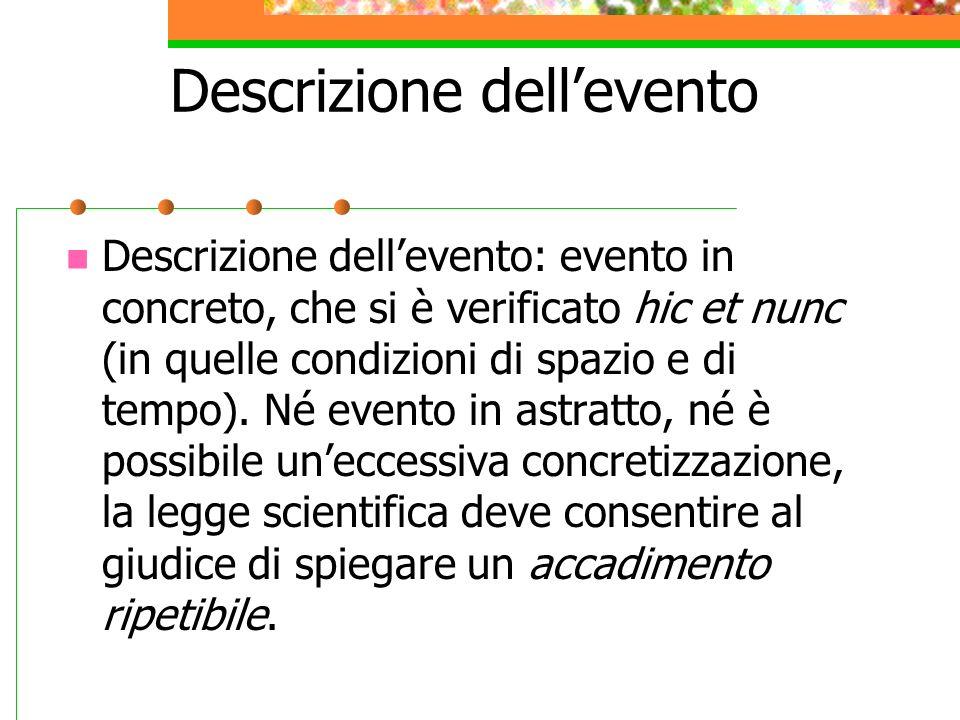 Descrizione dellevento Descrizione dellevento: evento in concreto, che si è verificato hic et nunc (in quelle condizioni di spazio e di tempo). Né eve