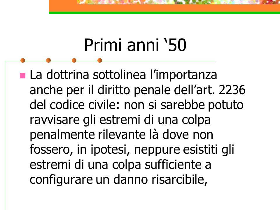 Primi anni 50 La dottrina sottolinea limportanza anche per il diritto penale dellart. 2236 del codice civile: non si sarebbe potuto ravvisare gli estr