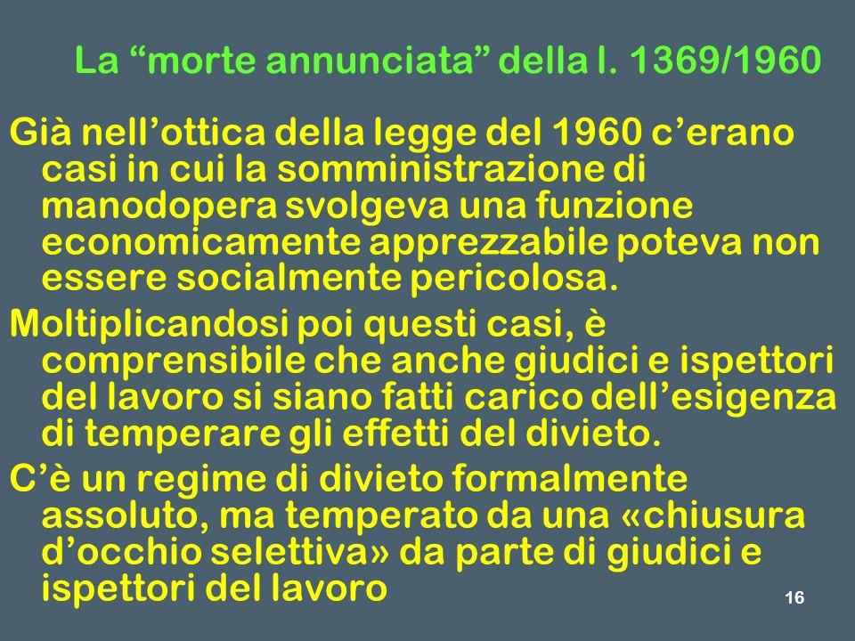 La morte annunciata della l. 1369/1960 Già nellottica della legge del 1960 cerano casi in cui la somministrazione di manodopera svolgeva una funzione