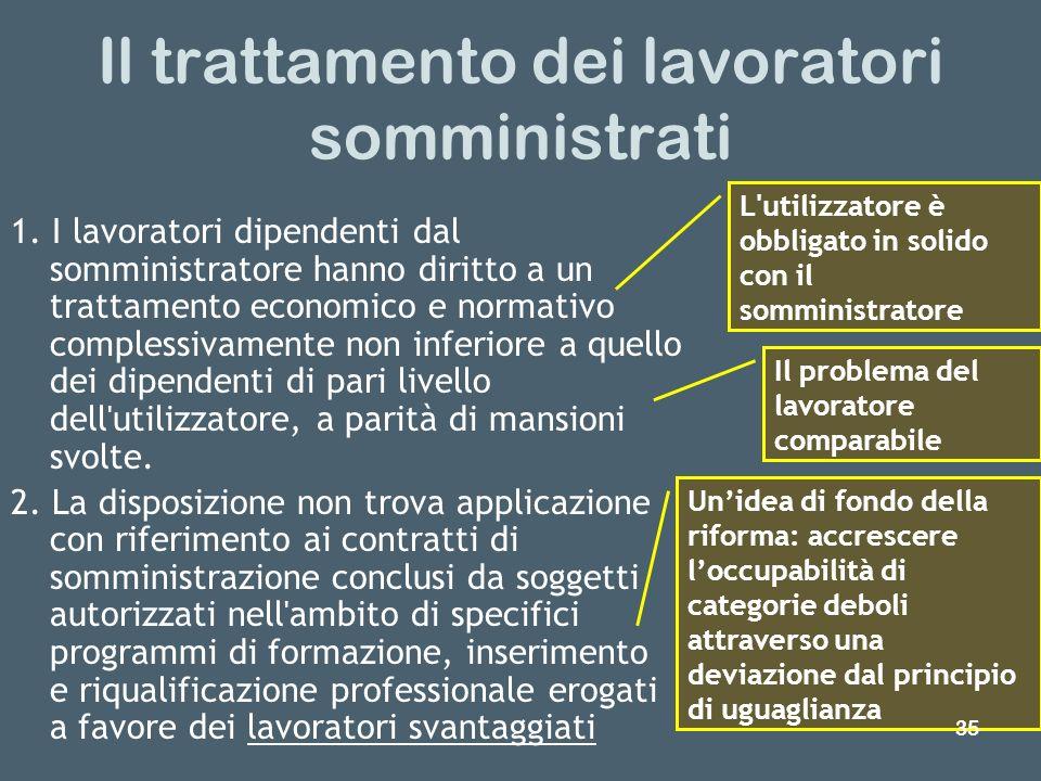 Il trattamento dei lavoratori somministrati 1. I lavoratori dipendenti dal somministratore hanno diritto a un trattamento economico e normativo comple