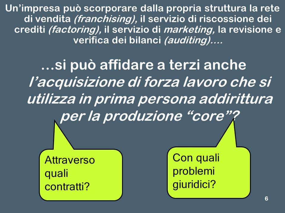 7 I problemi giuridici In che misura è possibile utilizzare prestazioni di lavoro rese da dipendenti altrui.