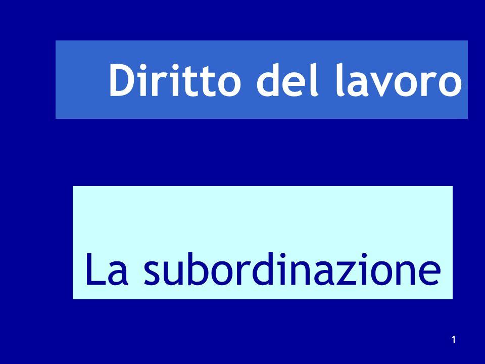 Diritto del lavoro La subordinazione 1