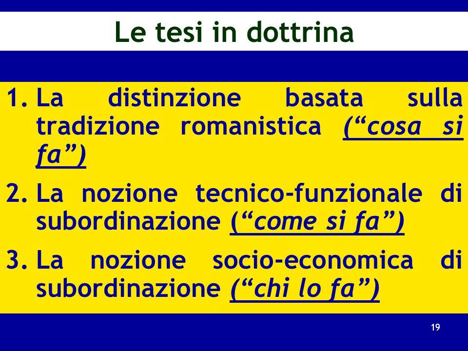 Le fattispecie diverse dalla subordinazione (rinvio) (1 ) Il lavoro autonomo (art. 2222 ss. cod. civ.) E lavoratore autonomo chi si obbliga a compiere