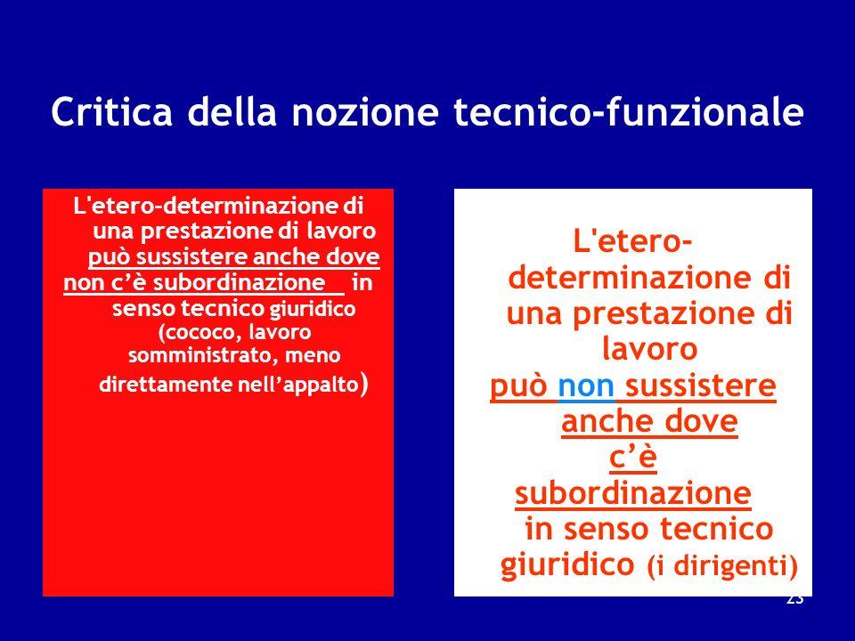 (2) La nozione tecnico-funzionale (come si fa) E fondata sulla valorizzazione dellelemento della eterodeterminazione si può considerare lavoratore sub