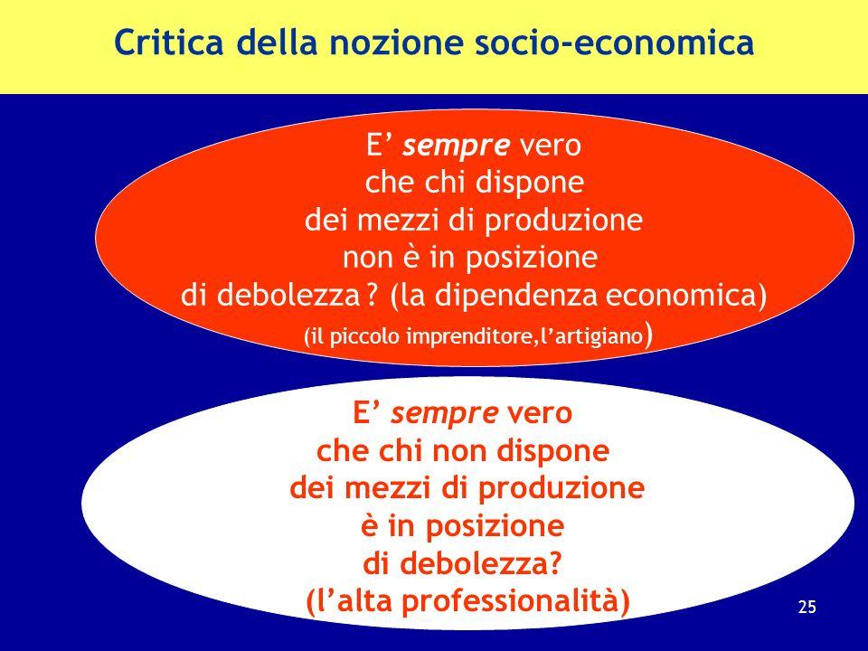 3) La nozione socio- economica di subordinazione La disciplina protettiva del diritto del lavoro si dovrebbe applicare solo ai soggetti socialmente ed