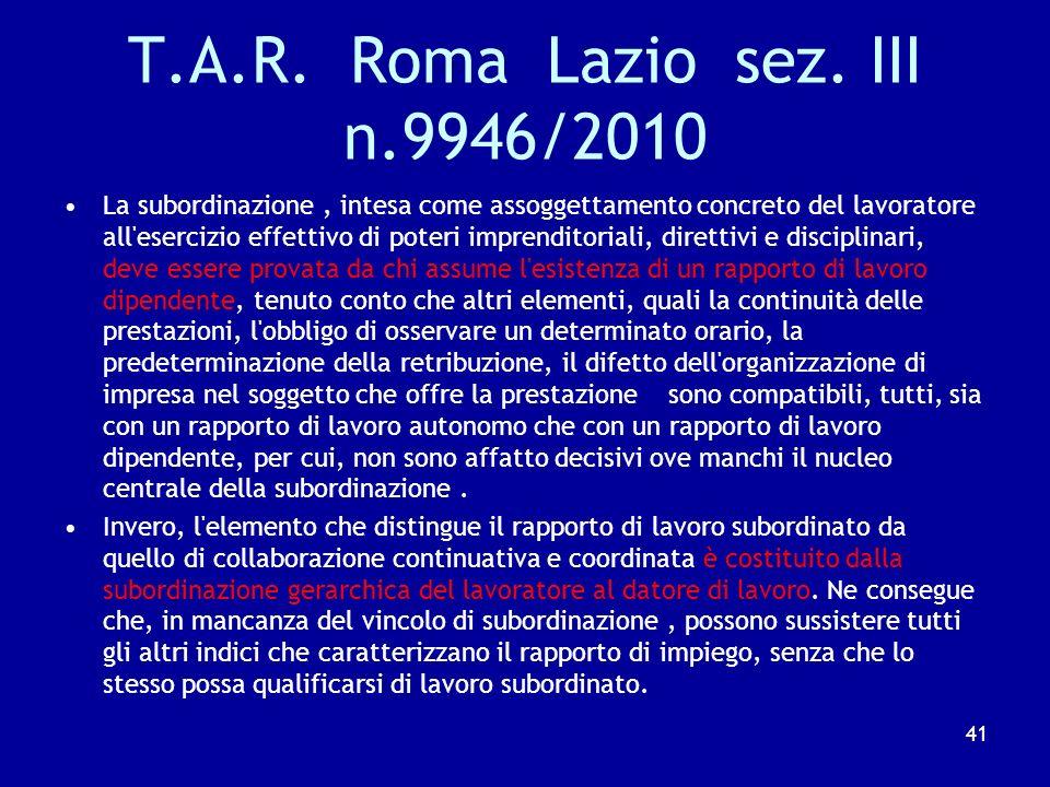 Cass. N.9252/2010 Ai fini della distinzione tra lavoro autonomo e subordinato, quando l'elemento dell'assoggettamento del lavoratore alle direttive al