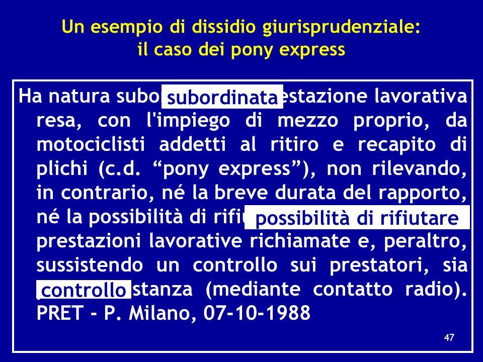 Le conseguenze dellapproccio pragmatico (metodo tipologico) impiegato in giurisprudenza 1) Lesistenza di un rapporto di lavoro subordinato può essere