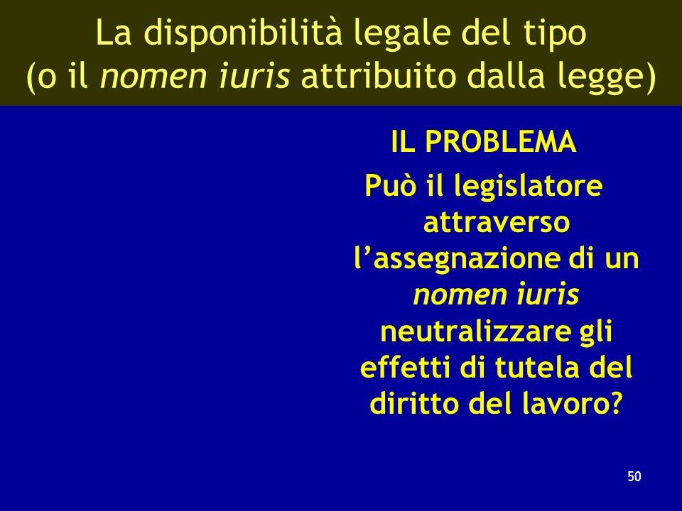 Sui limiti costituzionali alla disponibilità del tipo contrattuale (DAntona, 1995) Nel diritto del lavoro non è linterpretazione del regolamento volut