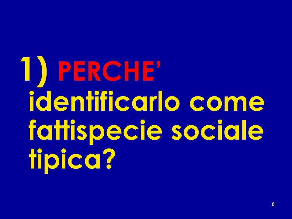 1) PERCHE identificarlo come fattispecie sociale tipica? 6