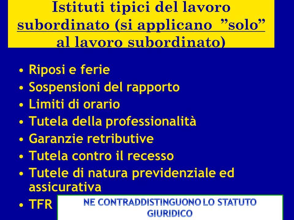 Le fattispecie diverse dalla subordinazione (rinvio) (1 ) Il lavoro autonomo (art.