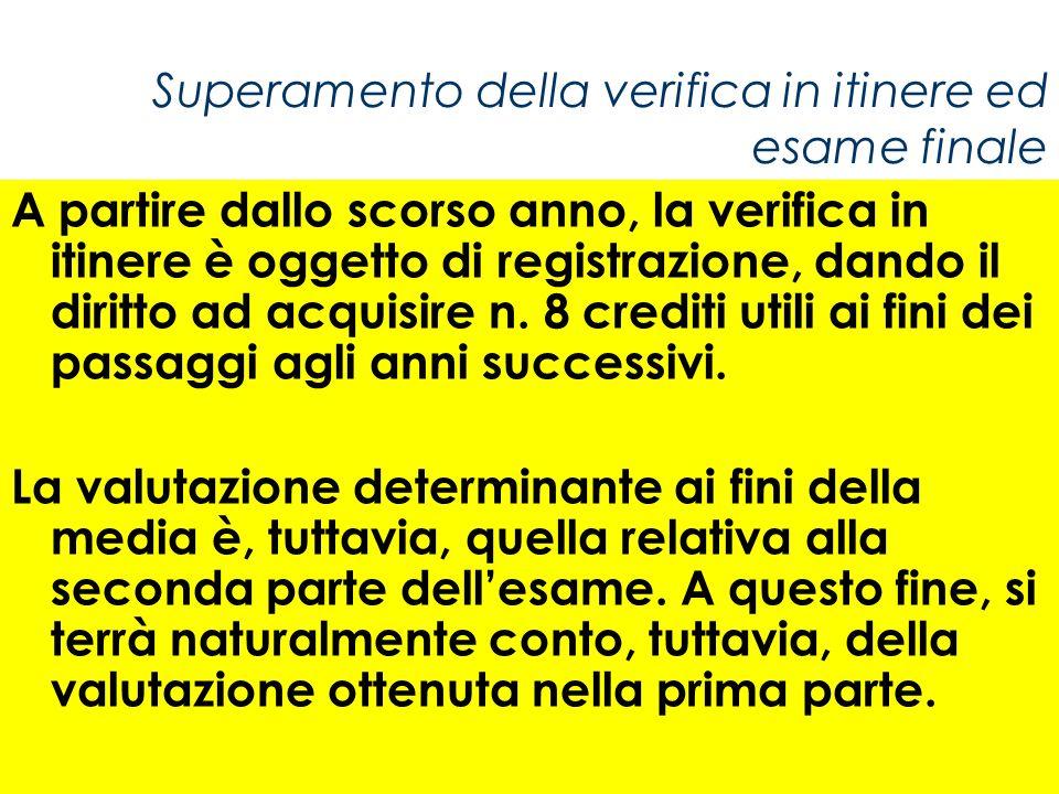 Superamento della verifica in itinere ed esame finale A partire dallo scorso anno, la verifica in itinere è oggetto di registrazione, dando il diritto