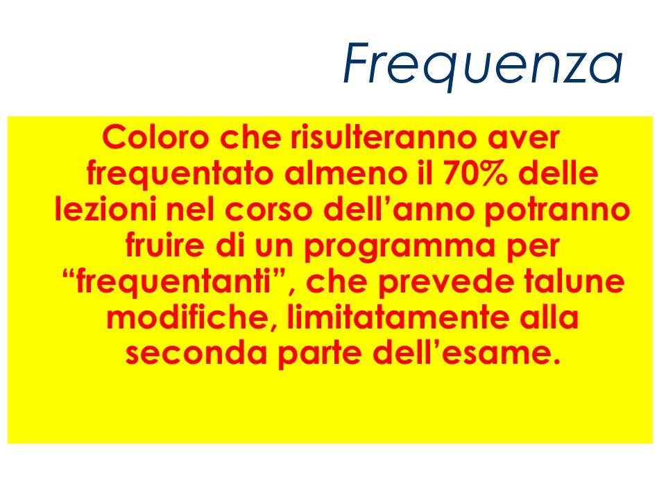 Frequenza Coloro che risulteranno aver frequentato almeno il 70% delle lezioni nel corso dellanno potranno fruire di un programma per frequentanti, che prevede talune modifiche, limitatamente alla seconda parte dellesame.