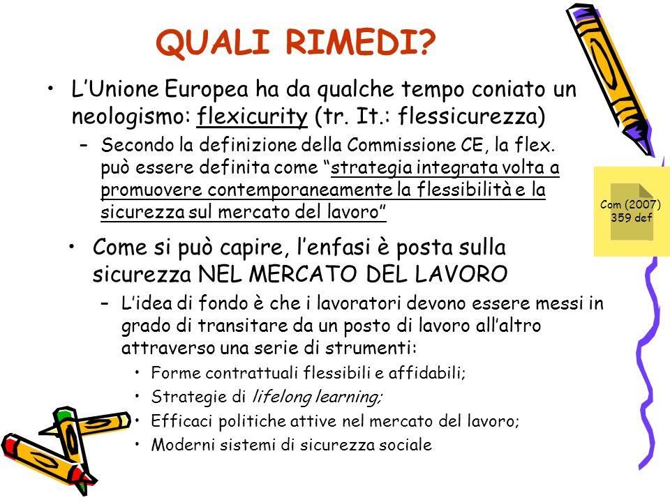 QUALI RIMEDI? LUnione Europea ha da qualche tempo coniato un neologismo: flexicurity (tr. It.: flessicurezza) –Secondo la definizione della Commission
