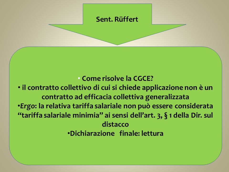 Sent.Rüffert Come risolve la CGCE.
