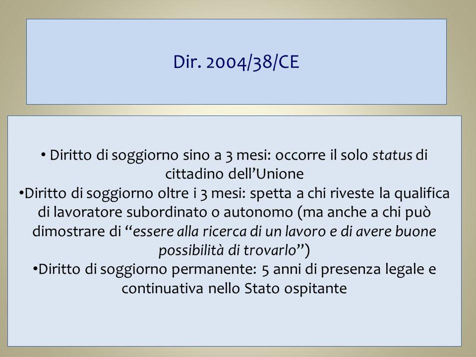 Dir. 2004/38/CE Diritto di soggiorno sino a 3 mesi: occorre il solo status di cittadino dellUnione Diritto di soggiorno oltre i 3 mesi: spetta a chi r
