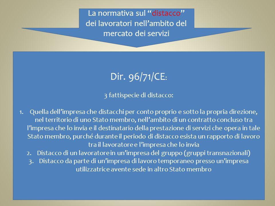 La normativa sul distacco dei lavoratori nellambito del mercato dei servizi Dir. 96/71/CE : 3 fattispecie di distacco: 1.Quella dellimpresa che distac