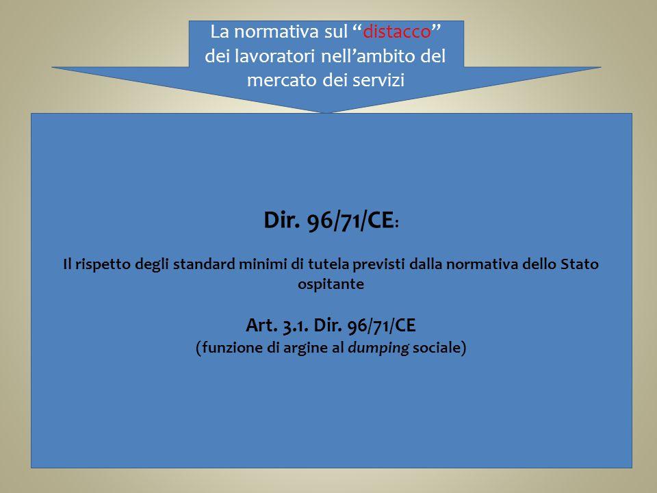 La normativa sul distacco dei lavoratori nellambito del mercato dei servizi Dir. 96/71/CE : Il rispetto degli standard minimi di tutela previsti dalla