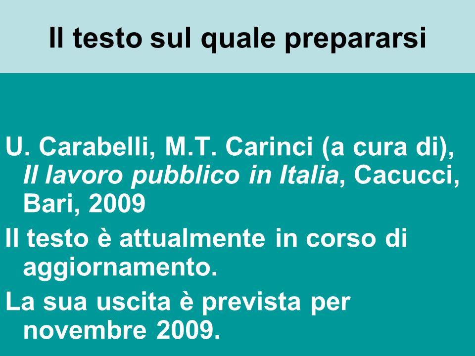 Il testo sul quale prepararsi U. Carabelli, M.T.