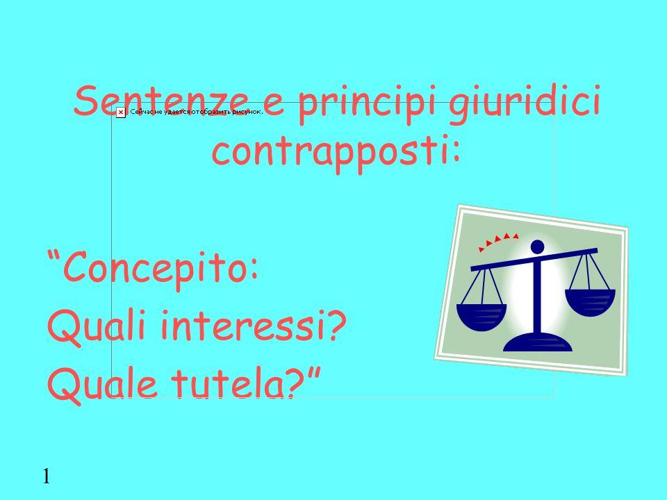 Sentenze e principi giuridici contrapposti: Concepito: Quali interessi? Quale tutela? 1
