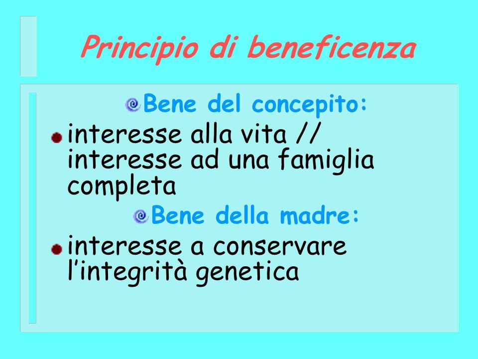 Principio di beneficenza Bene del concepito: interesse alla vita // interesse ad una famiglia completa Bene della madre: interesse a conservare linteg