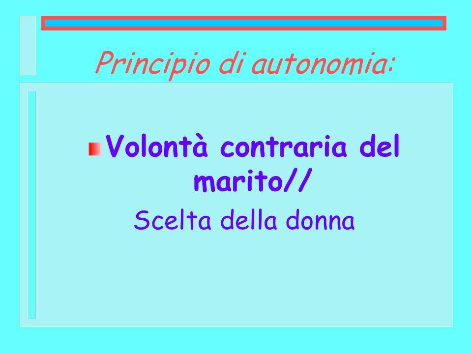 Principio di autonomia: Volontà contraria del marito// Scelta della donna