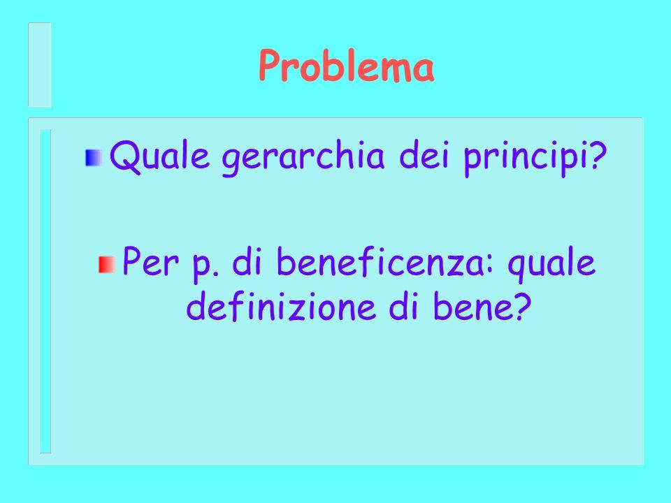 Problema Quale gerarchia dei principi? Per p. di beneficenza: quale definizione di bene?