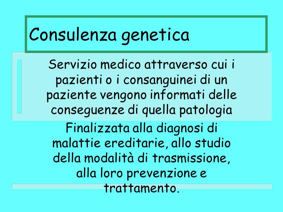 Consulenza genetica Servizio medico attraverso cui i pazienti o i consanguinei di un paziente vengono informati delle conseguenze di quella patologia