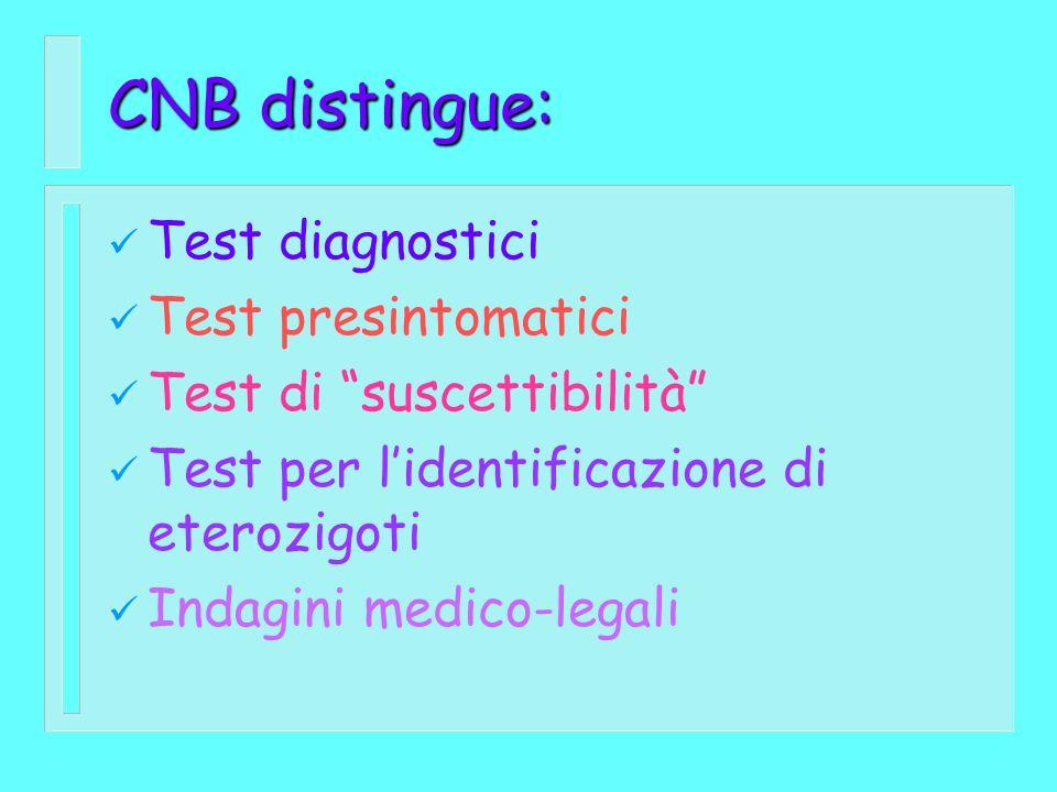 CNB distingue: Test diagnostici Test presintomatici Test di suscettibilità Test per lidentificazione di eterozigoti Indagini medico-legali