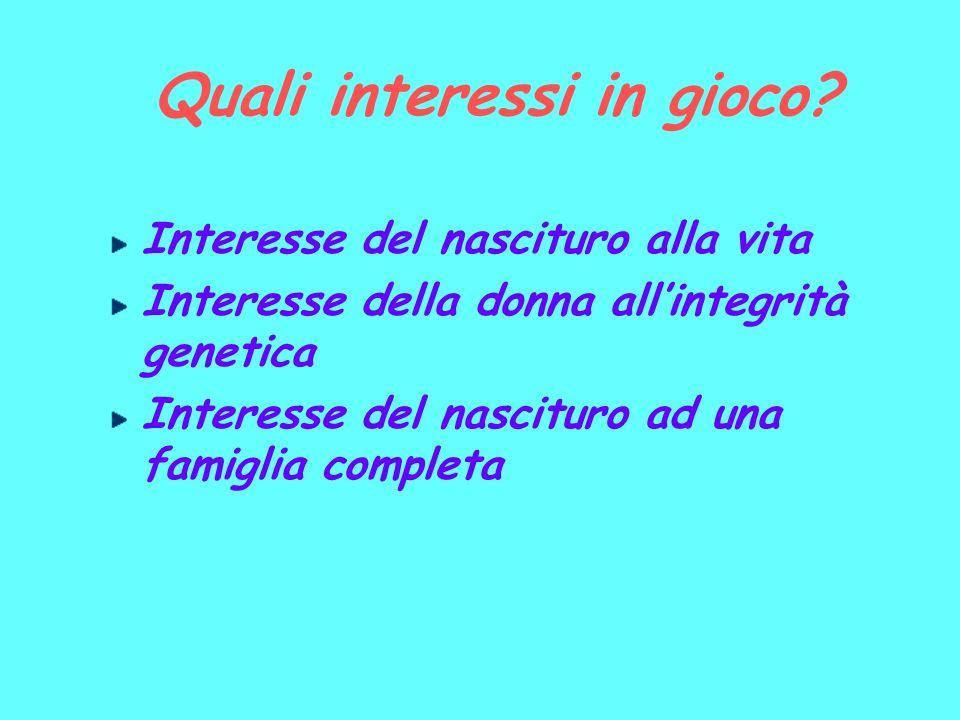Quali interessi in gioco? Interesse del nascituro alla vita Interesse della donna allintegrità genetica Interesse del nascituro ad una famiglia comple