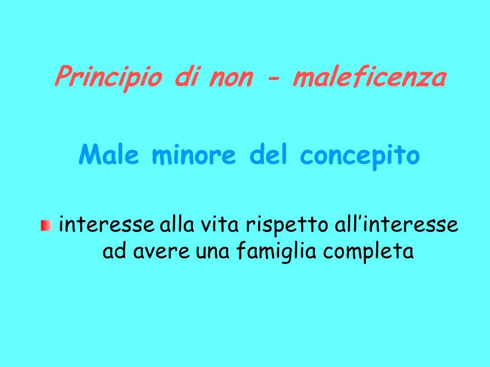 Principio di non - maleficenza Male minore del concepito interesse alla vita rispetto allinteresse ad avere una famiglia completa