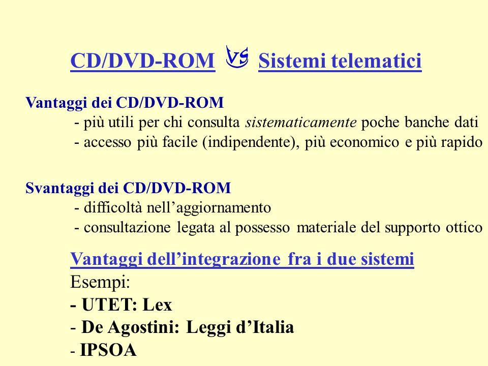 Vantaggi dei CD/DVD-ROM - più utili per chi consulta sistematicamente poche banche dati - accesso più facile (indipendente), più economico e più rapid