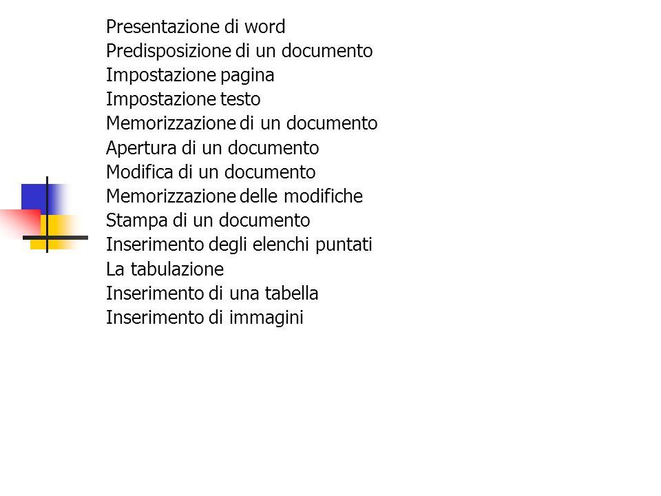 Presentazione di word Predisposizione di un documento Impostazione pagina Impostazione testo Memorizzazione di un documento Apertura di un documento M