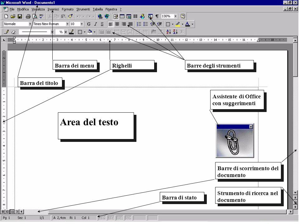 Barra dei menuRighelliBarre degli strumenti Assistente di Office con suggerimenti Barre di scorrimento del documento Barra di stato Strumento di ricer