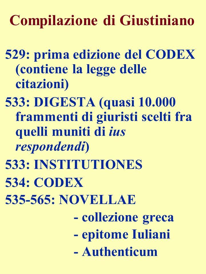 Compilazione di Giustiniano 529: prima edizione del CODEX (contiene la legge delle citazioni) 533: DIGESTA (quasi 10.000 frammenti di giuristi scelti