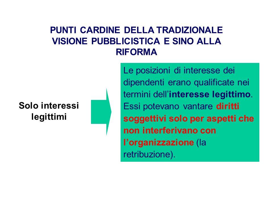 PUNTI CARDINE DELLA TRADIZIONALE VISIONE PUBBLICISTICA E SINO ALLA RIFORMA Le posizioni di interesse dei dipendenti erano qualificate nei termini dellinteresse legittimo.