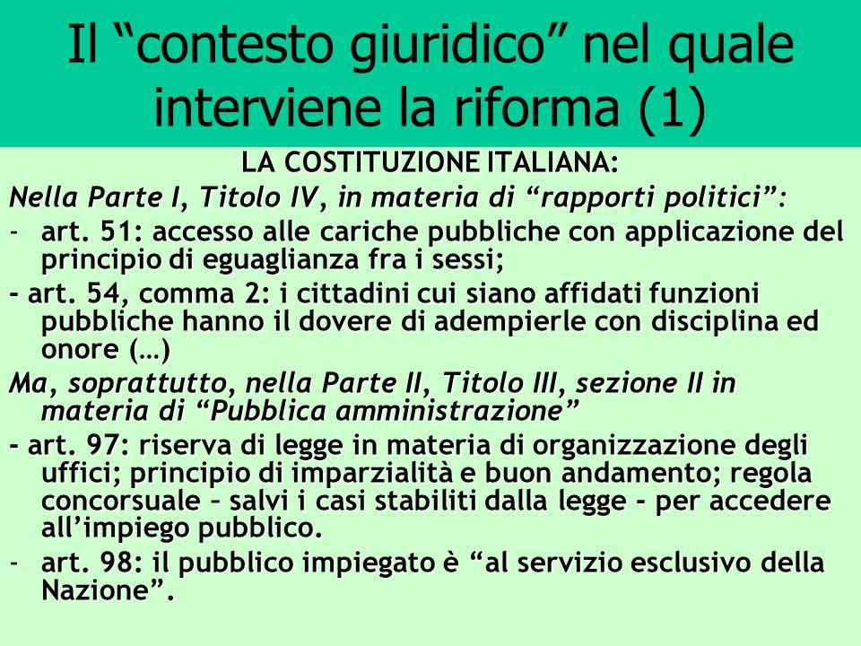 Il contesto giuridico nel quale interviene la riforma (1) LA COSTITUZIONE ITALIANA: Nella Parte I, Titolo IV, in materia di rapporti politici: -art. 5